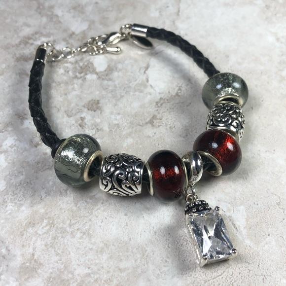 dda4d39d528a5 DaVinci Slide Charm Leather Cord Bracelet